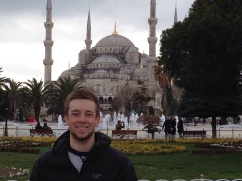 cheesy touristy photo in front of the 'Blue Mosque' with an even cheesier smile...