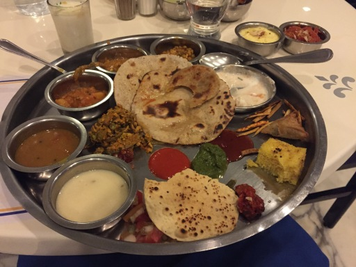 First Indian dinner - Vegetarian Thali